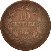 Luxembourg, William III, 10 Centimes, 1860, Paris, TB, Bronze, KM:23.2