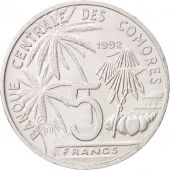 Comoros, 5 Francs, 1992, Paris, SUP, Aluminum, KM:15