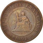 FRENCH INDO-CHINA, Cent, 1894, Paris, VF(20-25), Bronze, KM:1, Lecompte:45