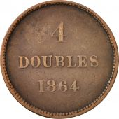 Guernsey, 4 Doubles, 1864, Guernesey, TB+, Bronze, KM:6