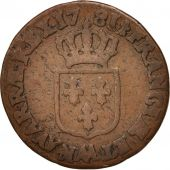 France, Louis XVI, 1/2 Sol ou 1/2 sou, 1/2 Sol, 1781, Metz, VF(20-25), Copper