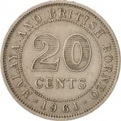 MALAYA & BRITISH BORNEO, 20 Cents, 1961, TTB+, Copper-nickel, KM:3