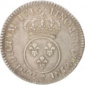 France, Louis XV, 1/2 Écu Vertugadin, 1/2 ECU, 44 Sols, 1716, Paris, TTB