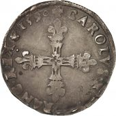 France, Charles X, Roi de la Ligue, 1/8 Ecu, 1590, Paris, TB+, Argent