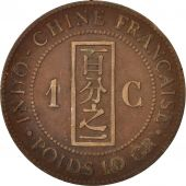 FRENCH INDO-CHINA, Cent, 1887, Paris, VF(30-35), Bronze, KM:1, Lecompte:39