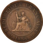 FRENCH INDO-CHINA, Cent, 1888, Paris, TB, Bronze, KM:1, Lecompte:40