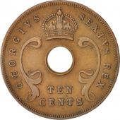 EAST AFRICA, George VI, 10 Cents, 1951, EF(40-45), Bronze, KM:34