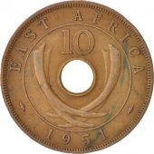EAST AFRICA, George VI, 10 Cents, 1951, TTB, Bronze, KM:34