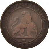 Espagne, Provisional Government, 10 Centimos, 1870, TB, Cuivre, KM:663
