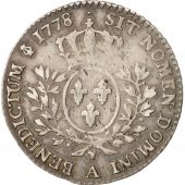 France, Louis XVI, 1/5 Écu, 24 Sols, 1/5 ECU, 1778, Paris, EF(40-45), Silver