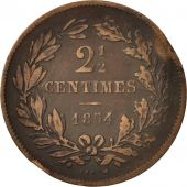 Luxembourg, William III, 2-1/2 Centimes, 1854, Utrecht, TB, Bronze, KM:21
