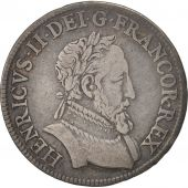 France, Henry II, Demi Teston, 1554, Paris, AU(50-53), Silver, Duplessy:991