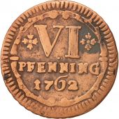 German States, MUNSTER, 6 Pfennig, 1762, VF(30-35), Copper, KM:440