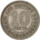 MALAYA & BRITISH BORNEO, 10 Cents, 1953, TB+, Copper-nickel, KM:2
