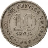 MALAYA & BRITISH BORNEO, 10 Cents, 1958, TTB, Copper-nickel, KM:2