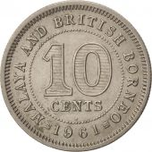 MALAYA & BRITISH BORNEO, 10 Cents, 1961, TTB+, Copper-nickel, KM:2