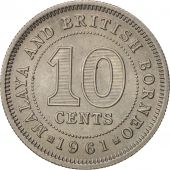 MALAYA & BRITISH BORNEO, 10 Cents, 1961, SPL, Copper-nickel, KM:2