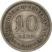 MALAYA, 10 Cents, 1948, TTB, Copper-nickel, KM:8