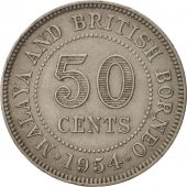 MALAYA & BRITISH BORNEO, 50 Cents, 1954, TTB, Copper-nickel, KM:4.1