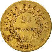 France, Napoléon I, 20 Francs, 1810, Paris, TB+, Or, KM:695.1, Gadoury:1025