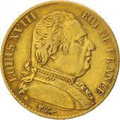 France, Louis XVIII, Louis XVIII, 20 Francs, 1814, Paris, TB+, Or, KM:706.1