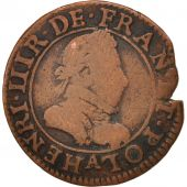 France, Henri III, Double Tournois, 1585, Paris, VF(20-25), Copper