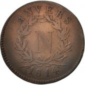 FRENCH STATES, ANTWERP, 10 Centimes, 1814, Anvers, VF(30-35), Bronze, KM:5.2