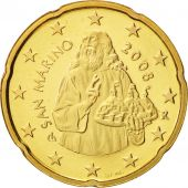 San Marino, 20 Euro Cent, 2008, MS(65-70), Brass, KM:483