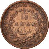 INDIA-BRITISH, 1/12 Anna, 1 Pie, 1835, Madras, VF(20-25), Copper, KM:445