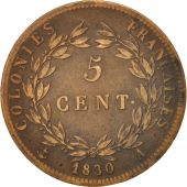 FRENCH COLONIES, Charles X, 5 Centimes, 1830, Paris, EF(40-45), Bronze, KM:10.1
