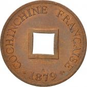 Coin, FRENCH COCHIN CHINA, 2 Sapeque, 1879, Paris, AU(55-58), Bronze, KM:2