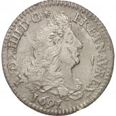 France, Louis XIV, 1/12 Écu aux 8 L, 1/12 ECU, 10 Sols, 1691, Paris, VF(30-35)