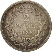 France, Louis-Philippe, 2 Francs, 1834, Strasbourg, F(12-15), Silver, KM:743.3
