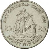 East Caribbean States, Elizabeth II, 25 Cents, 1981, AU(50-53), Copper-nickel