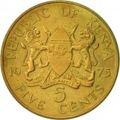 Kenya, 5 Cents, 1975, AU(50-53), Nickel-brass, KM:10