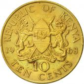 Kenya, 10 Cents, 1968, AU(50-53), Nickel-brass, KM:2