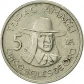 Pérou, 5 Soles, 1977, Lima, TTB, Copper-nickel, KM:267