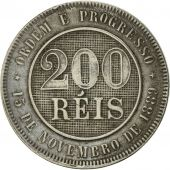 Brésil, 200 Reis, 1889, TTB, Copper-nickel, KM:493