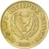Chypre, 10 Cents, 1990, TTB+, Nickel-brass, KM:56.2