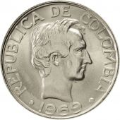 Colombia, 20 Centavos, 1969, AU(55-58), Nickel Clad Steel, KM:237