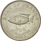Uganda, 200 Shillings, 2007, SUP, Nickel plated steel, KM:68a