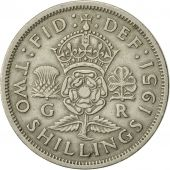 Great Britain, George VI, Florin, Two Shillings, 1951, AU(50-53), Copper-nickel
