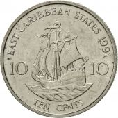 East Caribbean States, Elizabeth II, 10 Cents, 1991, AU(55-58), Copper-nickel