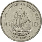East Caribbean States, Elizabeth II, 10 Cents, 1981, AU(55-58), Copper-nickel
