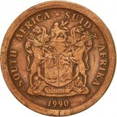 South Africa, 5 Cents, 1990, EF(40-45), Copper Plated Steel, KM:134