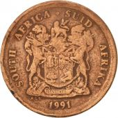 South Africa, 5 Cents, 1991, VF(30-35), Copper Plated Steel, KM:134