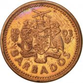 Barbados, Cent, 1993, Royal Canadian Mint, TTB, Copper Plated Zinc, KM:10a