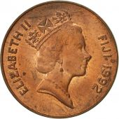Fiji, Elizabeth II, 2 Cents, 1992, TTB, Copper Plated Zinc, KM:50a