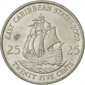 East Caribbean States, Elizabeth II, 25 Cents, 2002, British Royal Mint