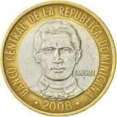 Dominican Republic, 5 Pesos, 2008, TTB+, Bi-Metallic, KM:89
